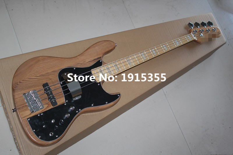 Hot sale factory custom 4 strings ash natural wood color electric bass guitar with black pickguard,can be changed(China (Mainland))
