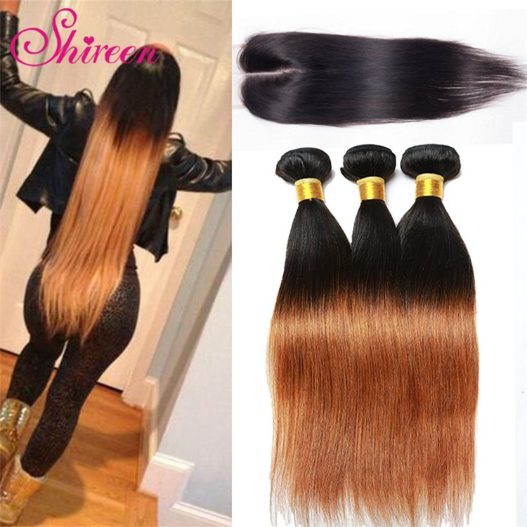 Ombre Brazilian Hair 1b/30# Virgin Hair Straight 3PCS With Lace Closure Dark Root Blonde Hair 10″-28″ Ombre Hair Extensions