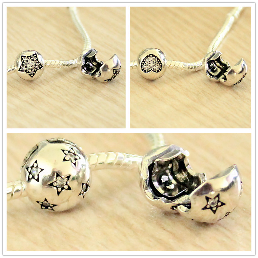 1PC freeshipping starry night ball Lock clip safety stopper european charm bead High quality Fit pandora Charms Bracelets(China (Mainland))