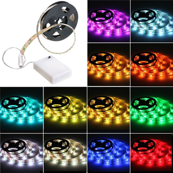 High Quality Waterproof RGB 5050 SMD LED Strip Flexible Lights Lamp Battery Power with Mini Controller 50 100 150 200CM(China (Mainland))