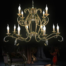 Free Shipping!Luxury Rustic Wrought Iron Chandelier 12pcs E14 Candle Black Vintage Antique Home Chandeliers For Livingroom(China (Mainland))