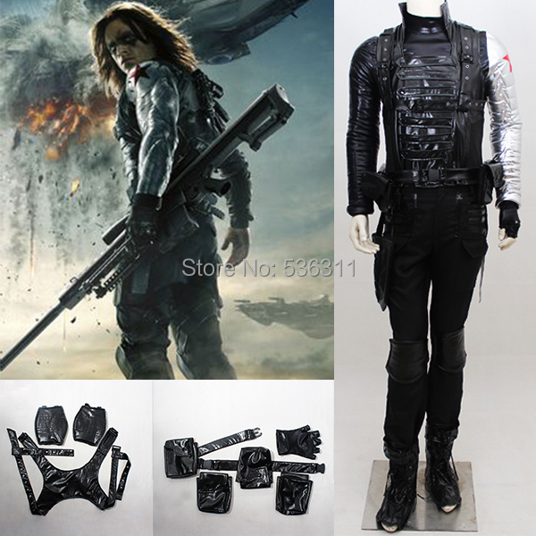 2014 halloween party costume Captain America 3 The Winter Soldier Bucky cosplay costume bonded leather coat armor clothing set