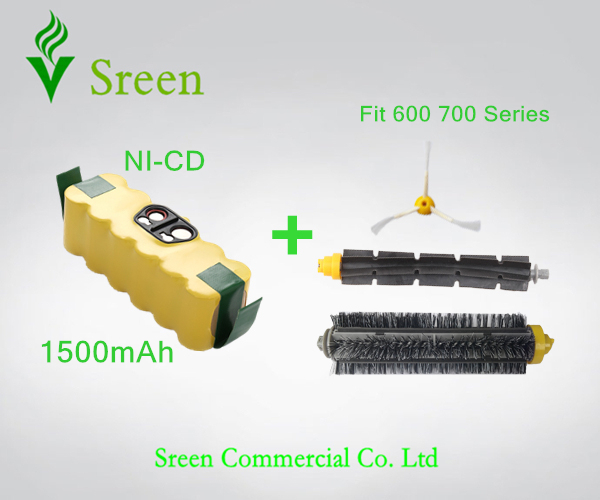 New Spare 14.4V 1.5Ah Replacement Brush Kit with Rechargeable Ni-CD Battery Packs for iRobot Roomba 600 700 Series Special Price(China (Mainland))