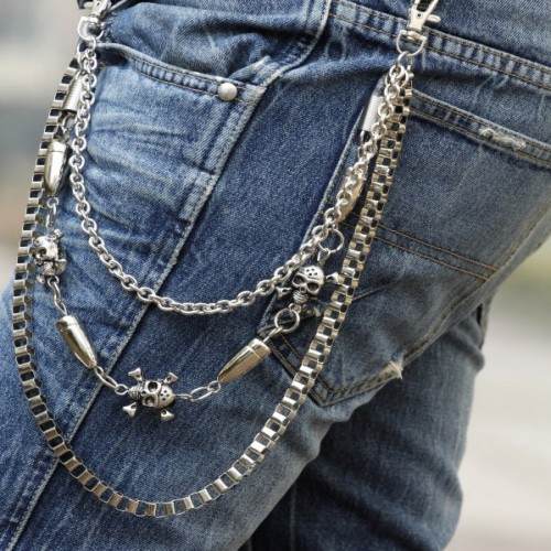 Mens Fashion belly chain punk jeans Skull chain hiphop Cross belly waist chain 7 style-inBelts ...