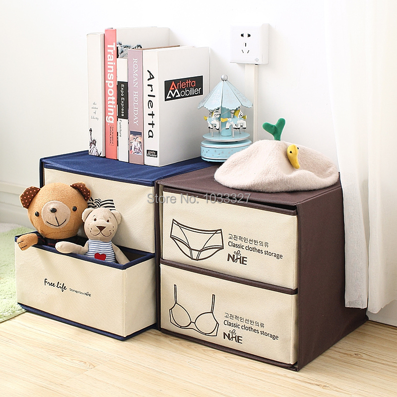 Creative Bras and underwear storage Non-woven fabric Boxes, Multifunctional double drawer type Home finishing Storage Bins(Hong Kong)