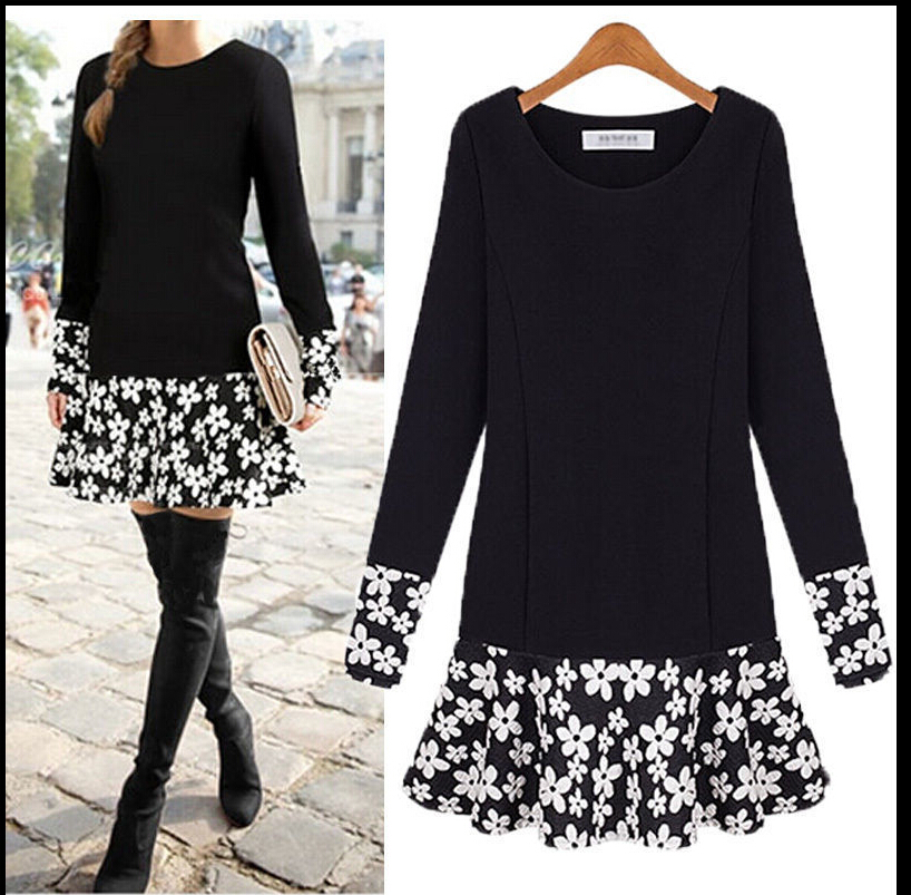 2016 New PLUS SIZE Women Long Sleeve Floral Blouse Bodycon Party Mini Dress Top Tunic Одежда и ак�е��уары<br><br><br>Aliexpress