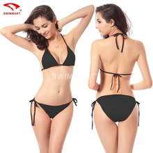 2015 New Hot Fashion Sexy lingeries Bikinis Set Brand trim Vintage Swimwear Black Bathing Suit scrunch butt swimsuits 12 Colors