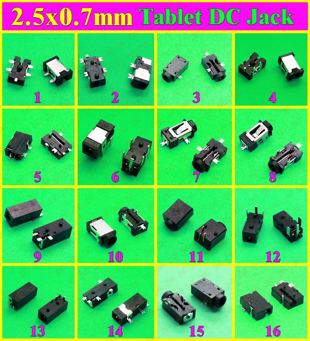Sample package 16 models 48pcs Hot selling Tablet PC DC Jack Charging Socket Connector 2.5 x 0.7 mm(China (Mainland))