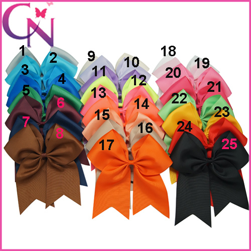 8 Inch Large Solid Grosgrain Cheer Bow For Girls Handmade Cheer Bow With Elastic Band Colorful Cheer Bow 30pcs/lot CNHB-1407141(China (Mainland))