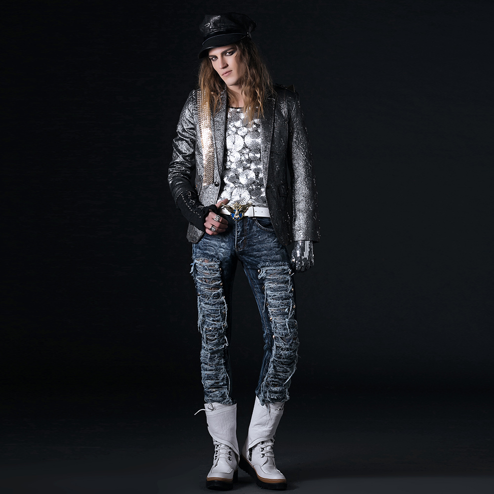 Metallic Suit Jacket Motorcycle Suit Jacket