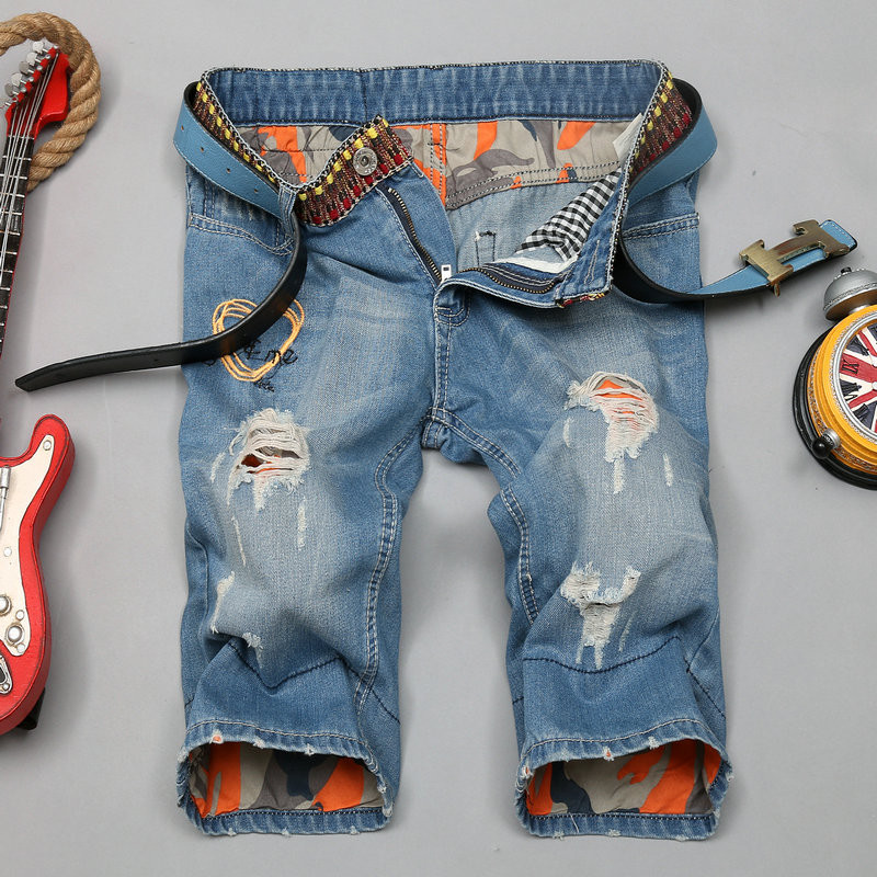 Hot Sale Men Short Jeans Men's Hole Shorts Men Summer Clothes New Fashion Men's Short Pants Knee Length Jeans Size 28-38 Cool