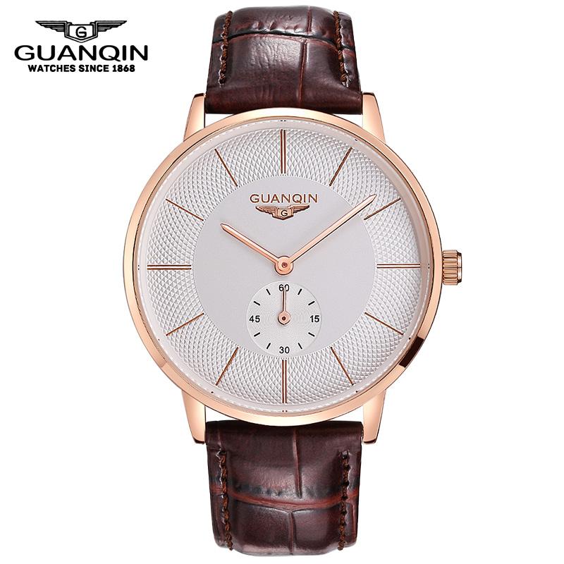 GUANQIN Men Leather strap Wristwatch Luxury Casual Big Dial Quartz Watches Men Relogios Masculino Waterproof Men Watch<br><br>Aliexpress