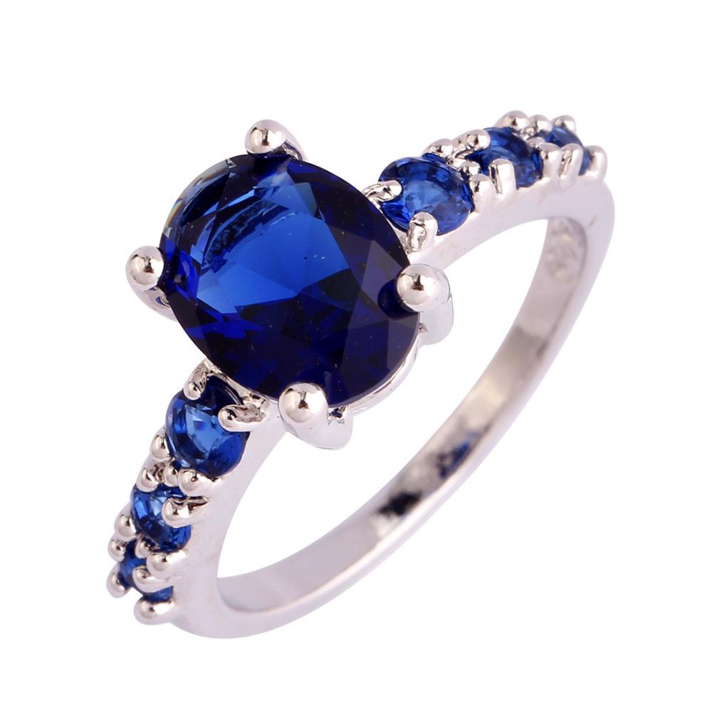 Wholesale Unisex New Arrival Fashion Jewelry Oval Cut Sapphire Quartz 925 Silver Ring Size 6 7