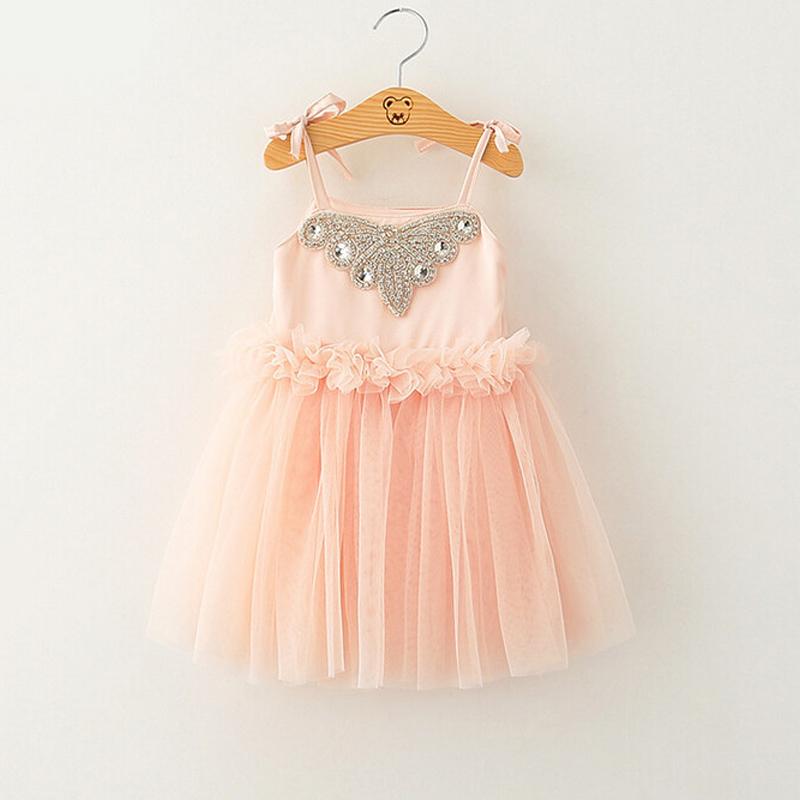New Kids Baby Fairy Sling Mesh Tulle Dresses Summer , Princess toddler Girls Clothing Pink(China (Mainland))