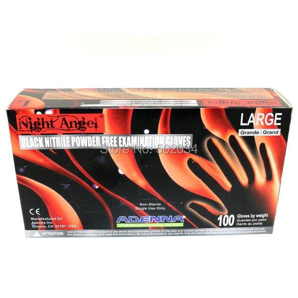 USA Dispatch Night Angel 4 mil Nitrile Powder Free Exam Gloves (Black, Large) tattoo accessory supplies