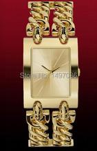 Envío gratis! 2014 hombres mujeres famosa marca de lujo reloj del cuarzo del reloj Rectangular cadena plata del oro reloj