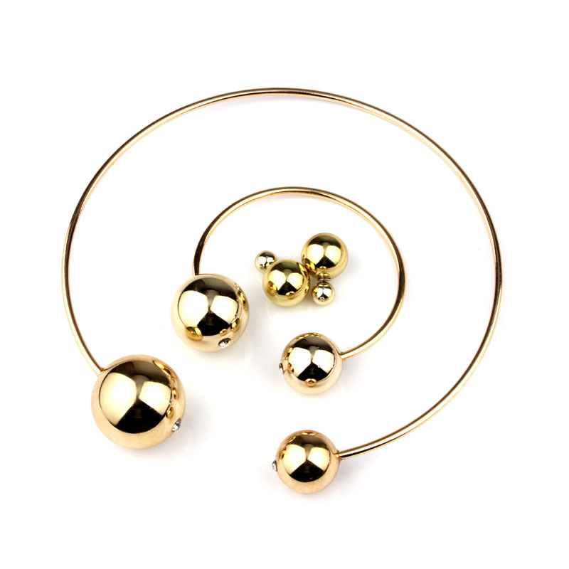 3pcs set Fashion Double Pearl Jewelry Sets Women Collar Necklace+Earring+Bangle Gold Silver Black White Color Lover Gifts BFWS(China (Mainland))