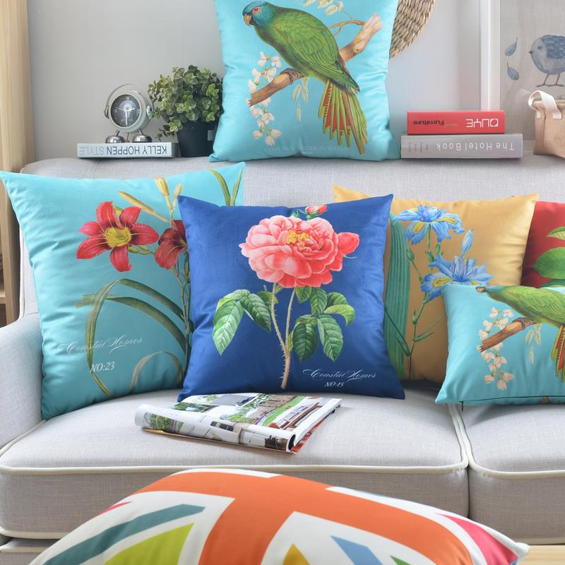 American Countryside Hand Painted flower Bird pillow Floral cushion waist throw pillow home decorative sofa cushions