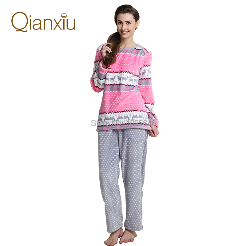 Women's Coral Fleece Pajamas Winter Women Homewear Flannel Thicken Soft Pajama Set Free Shipping(China (Mainland))
