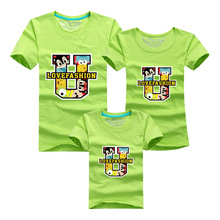 Fashion Family Matching Outfits Cartoon Family Clothing Set Plus Size Casual T Shirt For Mother Daughter Father Son Kids Clothes