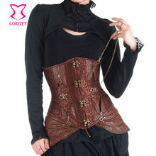 Waist Training Brown Underbust Sexy Bustier Corset Steampunk Clothing Women Steel Boned Waist Cincher Corsets Gothic Corselet