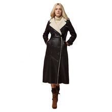 2015 Fashion Extra Long Leather Jacket Double Breasted Shearling Coat Women Suede Trench Coat Fur Turn Down Collar(China (Mainland))