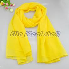 HOT Woman yellow solid MIXED COLOR Spring and autumn scarves satin cachecol scarf  world girl style chiffon shawl 20 colors(China (Mainland))