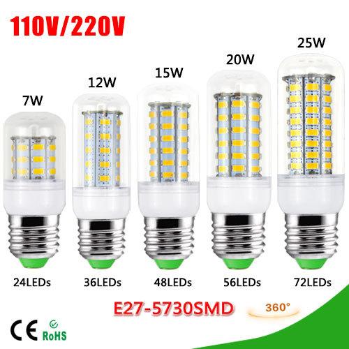 1Pcs SMD 5730 E27 7W 12W 15W 20W 25W LED lamp 220V / 110V 24 / 36 / 48 / 56 / 72 LEDs Corn Bulb light Chandelier For lighting(China (Mainland))