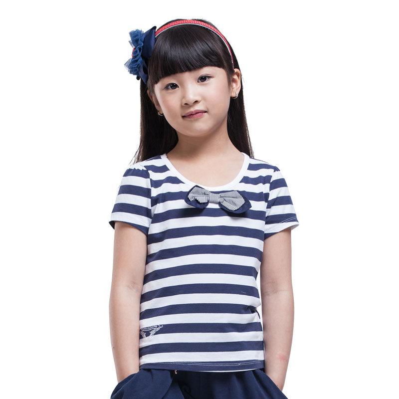 2016 news kids girls fashion design t shirts short sleeves stripeds british navy styles clothes size 5-15 years - JJLKIDS store