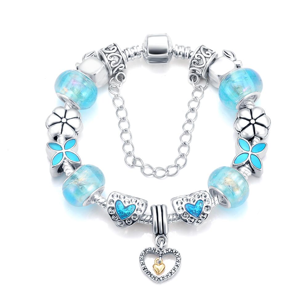 Hot Sale Antique 925 Silver Heart Charm Bracelets & Bangles Murano Glass&Crystal Beads Bracelet Vintage Women Jewelry PCBR0062(China (Mainland))