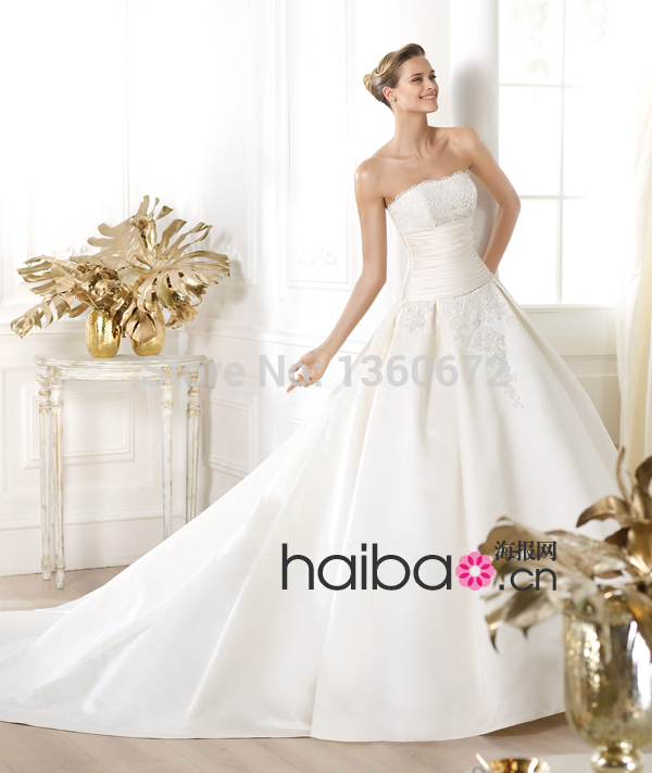 Custom Made 2014 New arrival wedding dresses satin Strapless Backless Bride Gowns attractive and reasonable price dress CW61(China (Mainland))