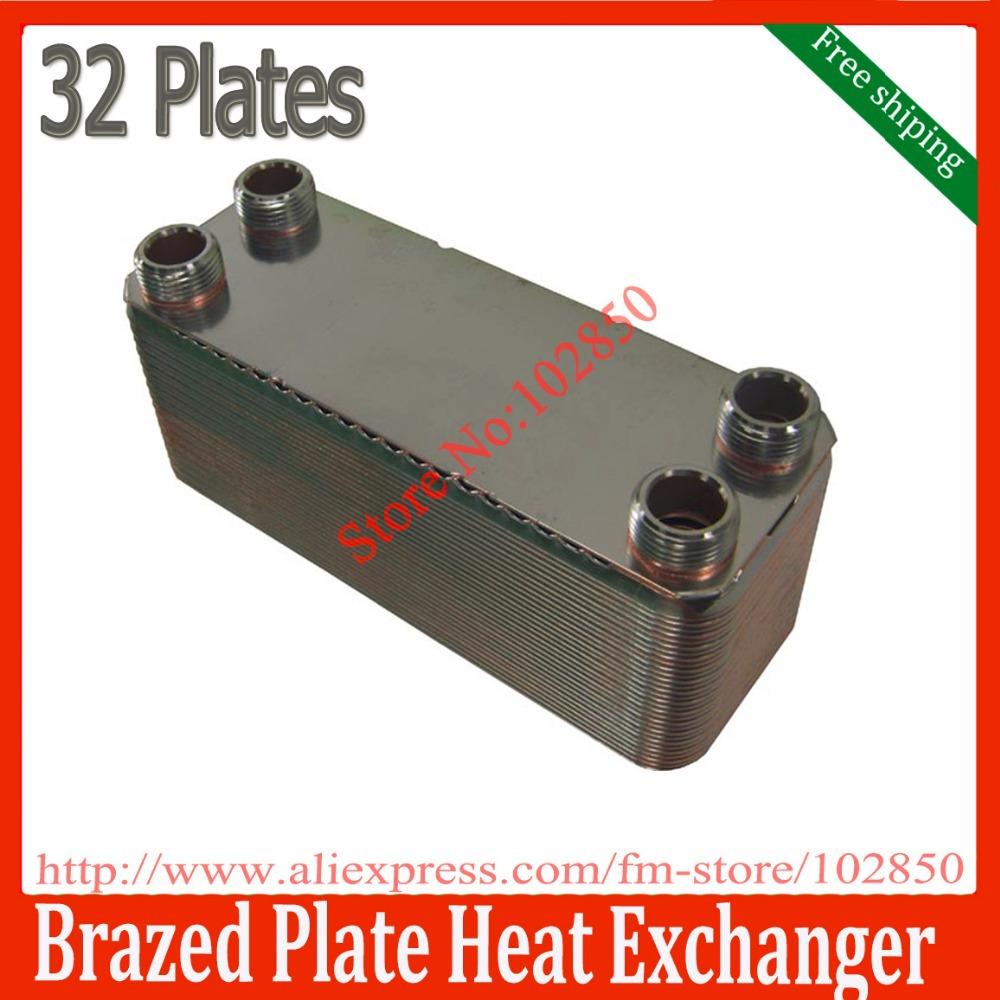 32 plates Brazed Plate Heat Exchanger SUS316 Stainless Steel,small size mini heat exchanger fast hot water generator(China (Mainland))