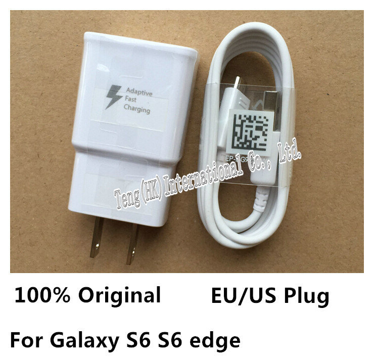 100% Original Adaptive Fast Charging US/EU Plug Travel Wall Charger + 1.2M Micro Usb Data Cable For Samsung S6 Edge Note 4