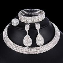 4 PCS יוקרה חתונה כלה תכשיטי סטים לכלות נשים שרשרת צמיד טבעת עגיל סט אלסטי חבל כסף קריסטל תכשיטים(China)