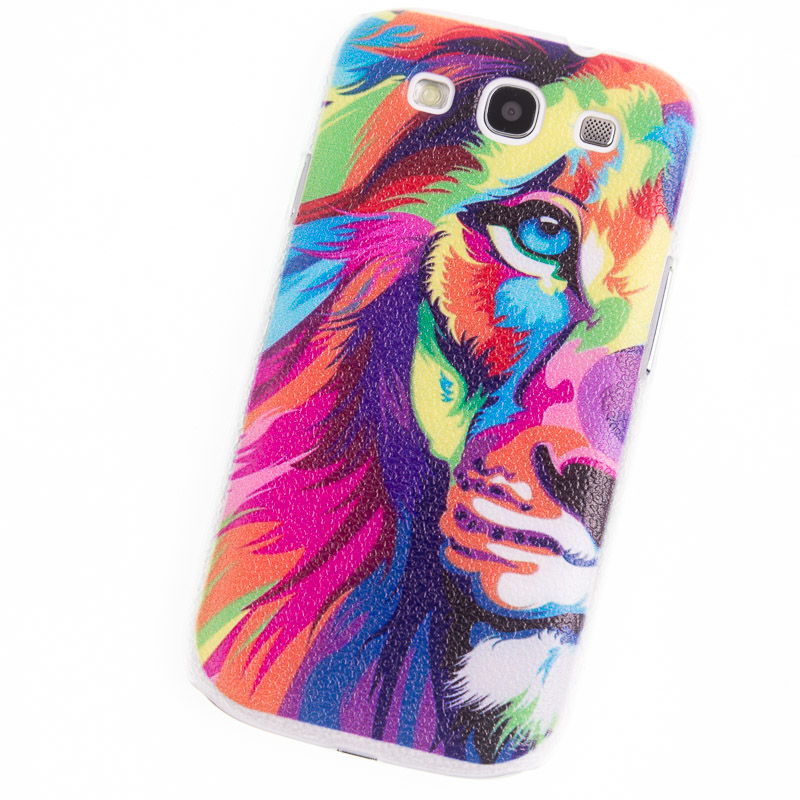 Phone Cases for Samsung Galaxy S3 Case i9300 colord lion touch screen Painted back Cover mobile phone bags&cases glass tempered(China (Mainland))