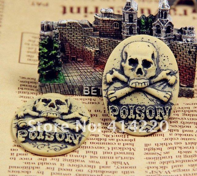 2012 New Style  Free shipping 30*40mm Resin Skull Cameo Cabochon Jewelry Decoration DIY Accessory for Necklace Pendant 50pcs/lot