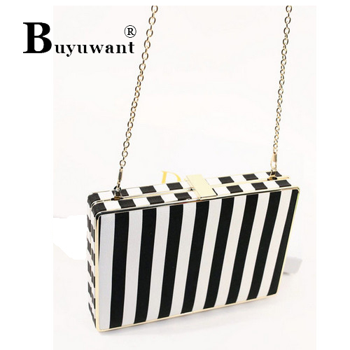 Europe navy wind stripes clip package hand bag chain parcel fashion bags Black White Matching Bag Women Shoulder Bag Series(China (Mainland))
