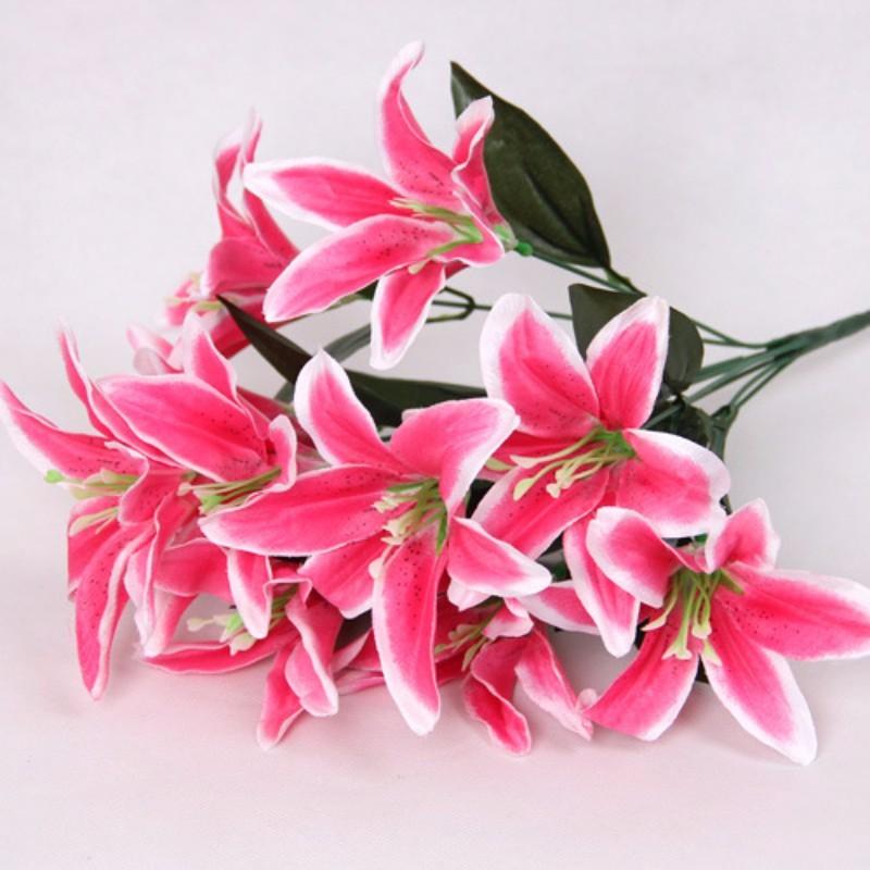 Flower Artificial Lilies Bouquet 10 Heads Wedding Floral Home Decor Flower Real Touch Wedding Flower bouquet New
