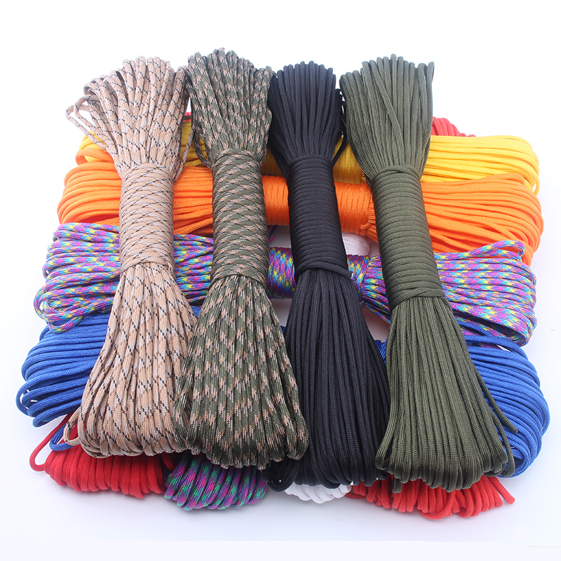 YoouPara 250 Colors Paracord 550 Rope Type III 7 Stand 100FT 50FT Paracord Parachute Cord Rope Survival kit Wholesale(China (Mainland))