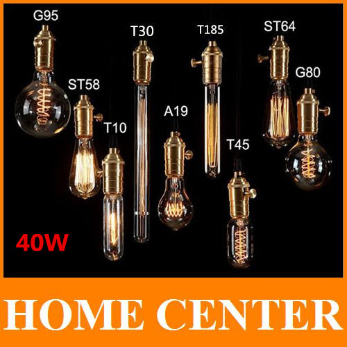 Antique Retro Vintage 40W 220V Edison Light Bulb E27 Incandescent Bulbs ST64 A19 G80 G125Squirrel-cage Filament Bulb Edison Lamp(China (Mainland))