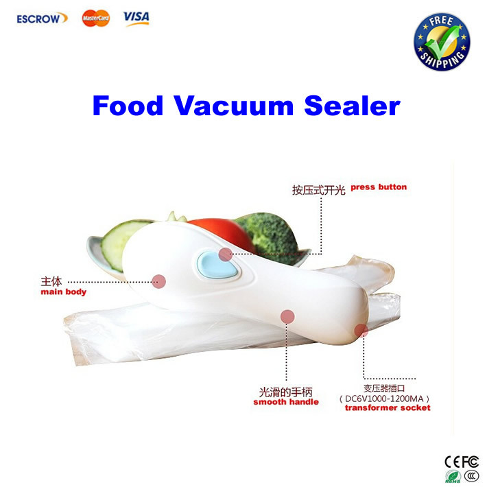 Free shipping!! Food Vacuum Sealer, Snacks sealing machine, handy Plastic Food Saver(China (Mainland))