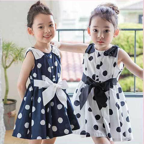 Free shipping 2015  Summer Fashion Sleeveless Polka Dot Bow  Girl Dress with Belt  Children Vest Cotton  Dot Dress Blue White<br><br>Aliexpress