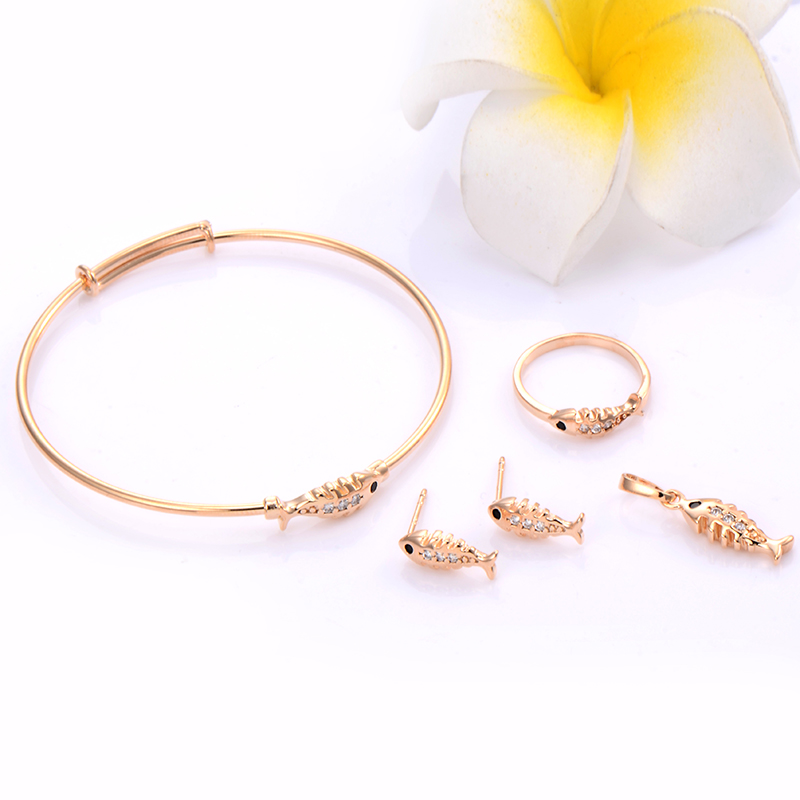 Child Toddler Fish Jewelry Sets Children Baby Gold Jewelry Set Princess Bracelet Rings Black Onyx Crystal Earrings Gold Filled(China (Mainland))