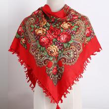 Russia new hot sell Wquare Fashion decorative Scarf handmade tassel flower design Scarves Blanket Shawl Handkerchief for Women(China)