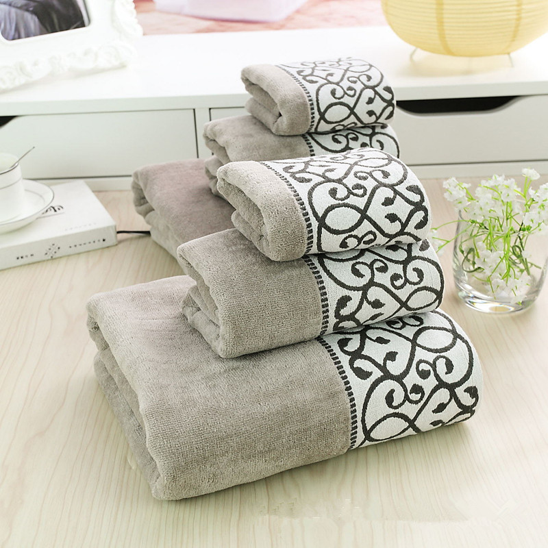 Free Shipping 100% Cotton Luxury Towel Set 3PCS =Bath l+Face +Hand Embroidery Grey linge de toilette Soft Towel Beach Towel(China (Mainland))