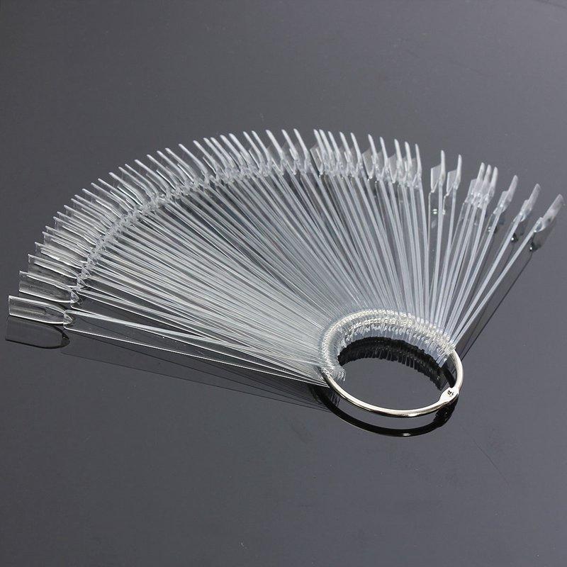 Hotting 50PCS Nail Art Tips False Nails Board Fan Shape Display Set Tool Polish Gel Practice Clear Transparent Decoration
