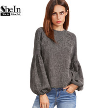 Buy SheIn Women Tops Blouses New Fashion Women Shirt Ladies Tops Grey Keyhole Back Lantern Sleeve Top Long Sleeve Blouse for $16.97 in AliExpress store