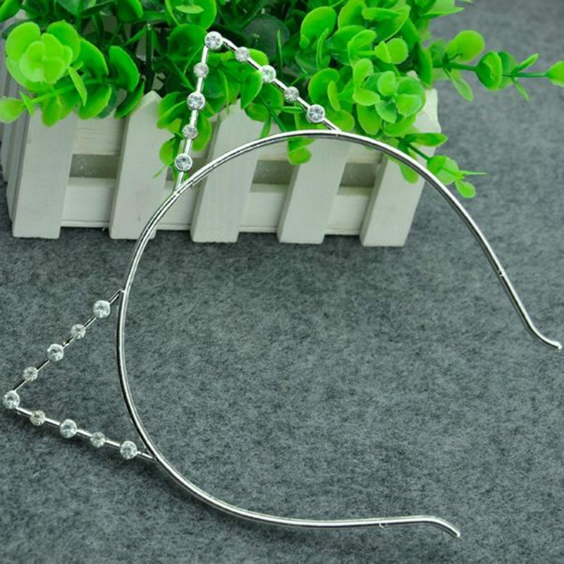 1Pcs Cute Cat's Ears Headbands Rhinestone Cat Ears Headbands Hair Hoop Accessories Pearl Headdress for Women Party Gift(China (Mainland))