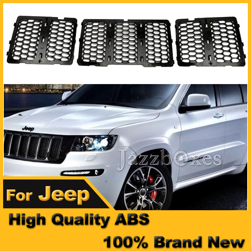 Jeep Grand Cherokee Limited 2014: A Set (3Pcs) Black Front Mesh Grille Inserts For Jeep WK