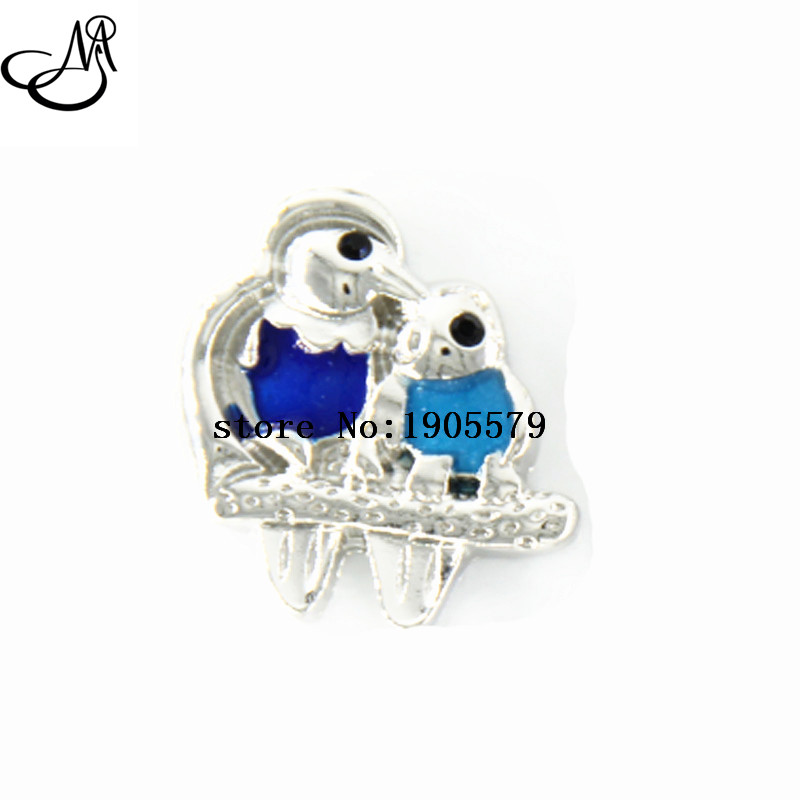 Lovely Enamel Snaps Blue Bird Mother &Baby Snap Button Fit 18mm Chunky Snap Jewelry SB2496(China (Mainland))